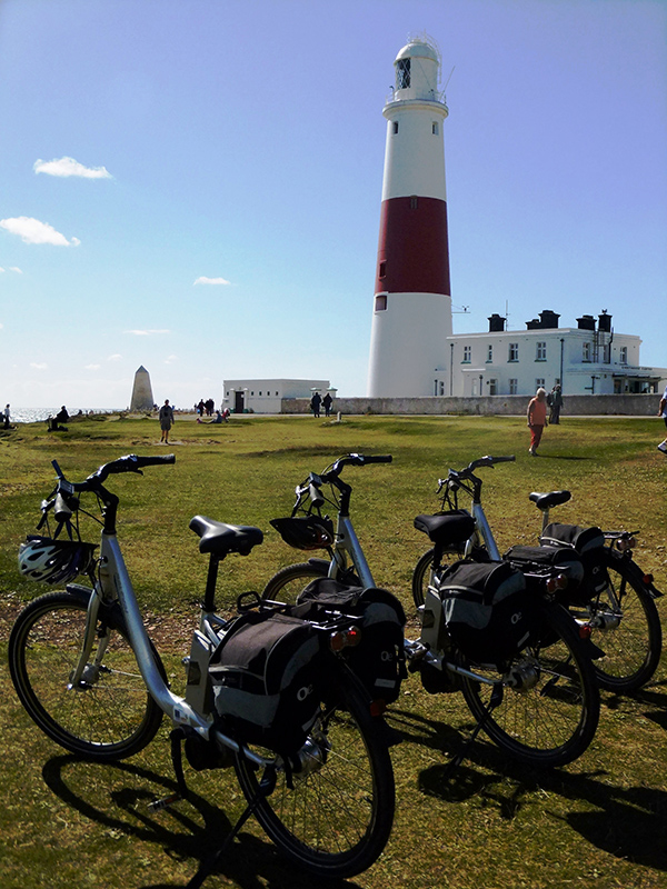 Portland Bill lighthouse with bikes